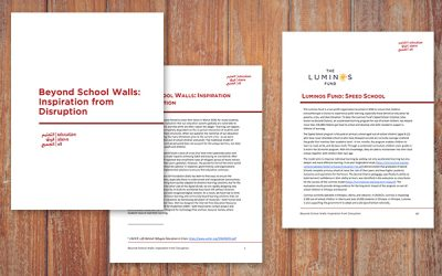 """Luminos featured in Education Above All Report, """"Beyond School Walls: Inspiration from Disruption"""""""